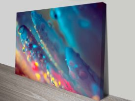 electric blue floral dew custom cheap artwork on canvas
