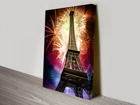 Eiffel tower fireworks canvas print