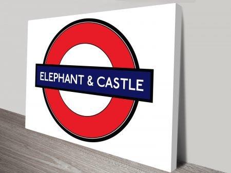 Elephant & Castle sign canvas print