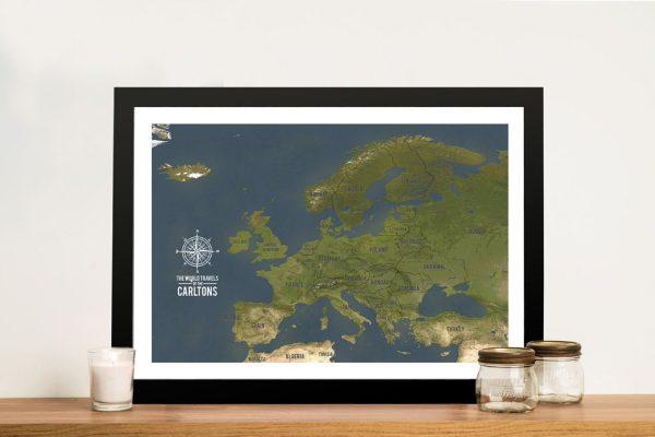 European Push Pin Travel Map Framed Wall Art