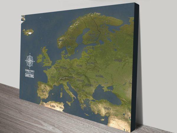 European Push Pin Travel Map Canvas Print Australia