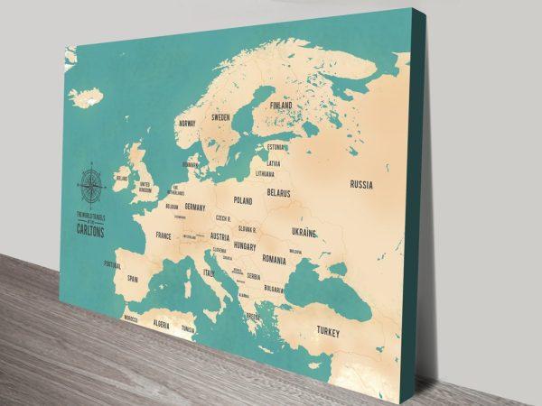 European Push Pin Travel Map Canvas Print