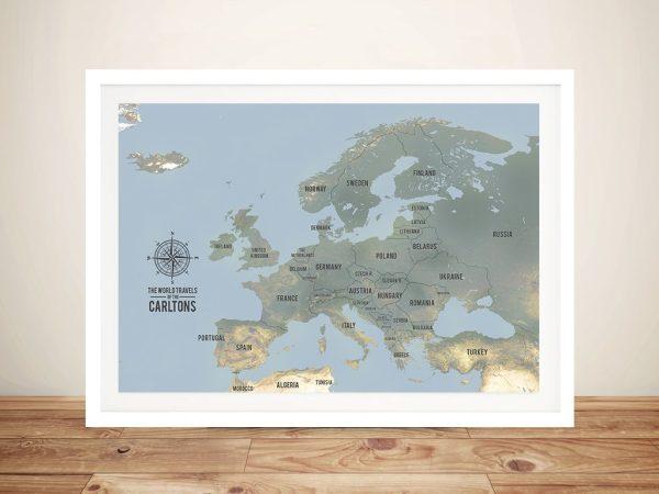 Bespoke European Travel Map Art with Pins