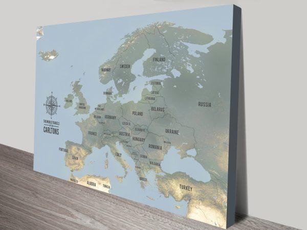 Bespoke European Travel Map Art with Pins Canvas Print