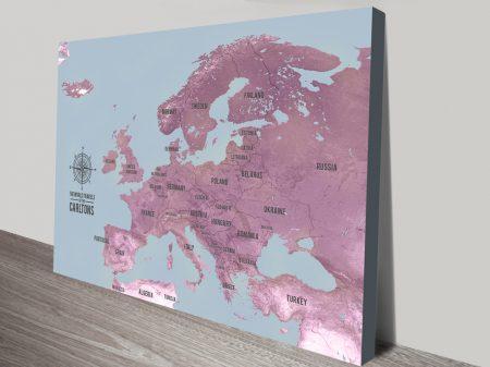 European Map Push Pin Art Canvas Print