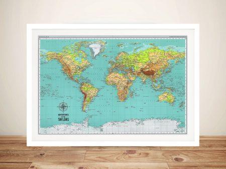 Explorer Push Pin World Map Framed Art Australia