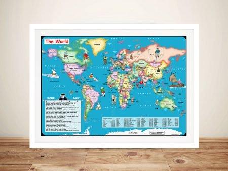 Fun World Map Canvas Picture Artwork