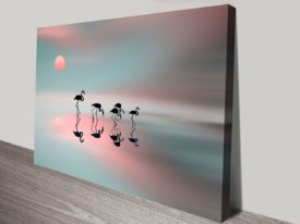 Family flamingos canvas print