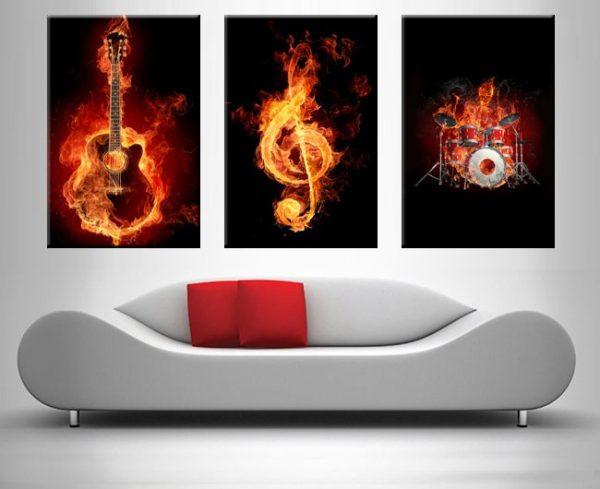fiery music 3 panel wall art print on canvas australia