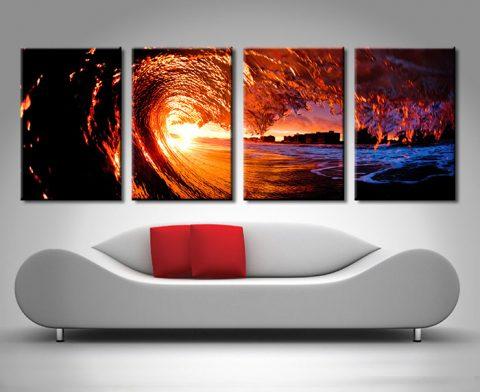 fire water 4 panel surf art