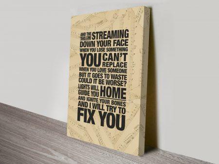 Fix You Coldplay Song Lyrics Art