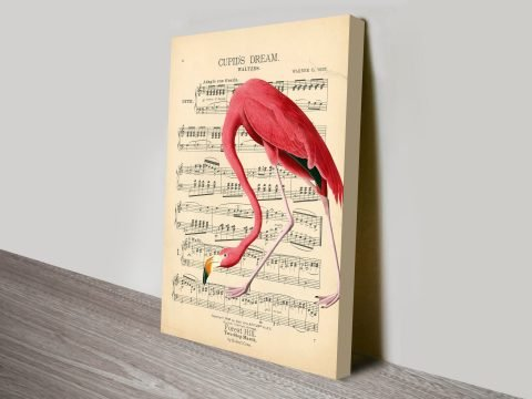 Vintage Flamingo Song Sheet Canvas Wall Art Print