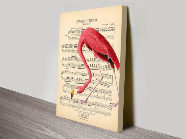 Vintage Flamingo Song Sheet Canvas Wall Art Print