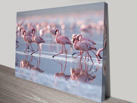 pretty in pink flamingos canvas wall art