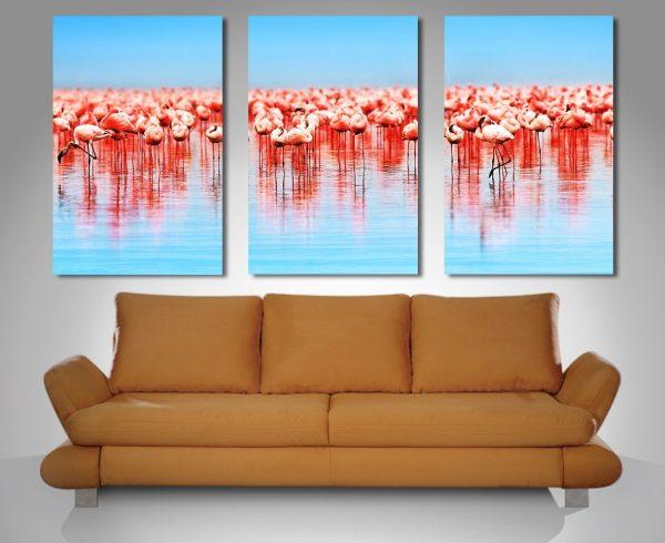 Flamingos Triptych canvas art