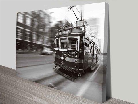 flinders street melbourne tram wall art print on canvas australia