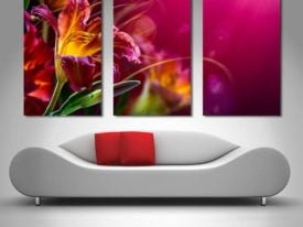 Floral Paradise Triptych Artwork on Canvas
