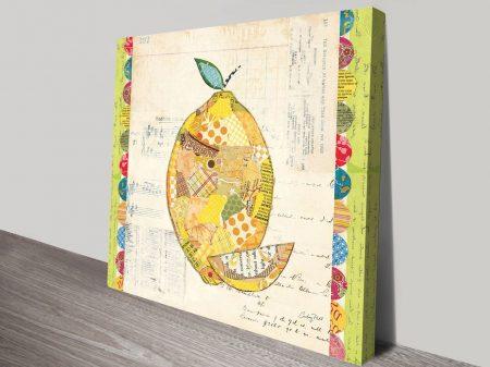Fruit Collage II, Lemon Art Print on Canvas