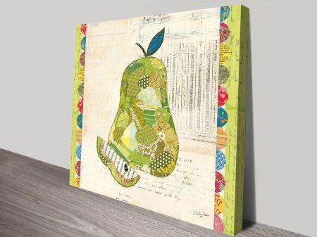 Fruit Collage II, Pear Art Print on Canvas