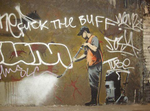 Banksy Off the Wall Graffiti Canvas Print