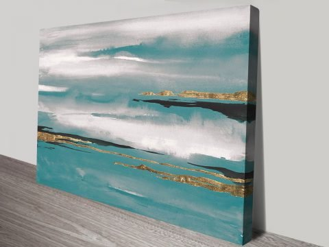 Gilded Storm Teal Grey I Perth Canvas on Print Art