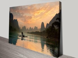 Golden Li River Canvas Art