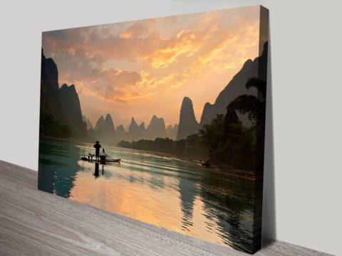 Golden Li River Canvas Art