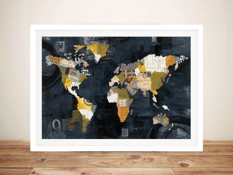 Golden World Framed Wall Art