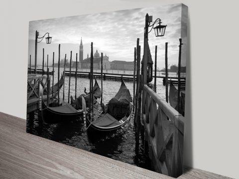 Gondolas in Venice Black and White Art Print