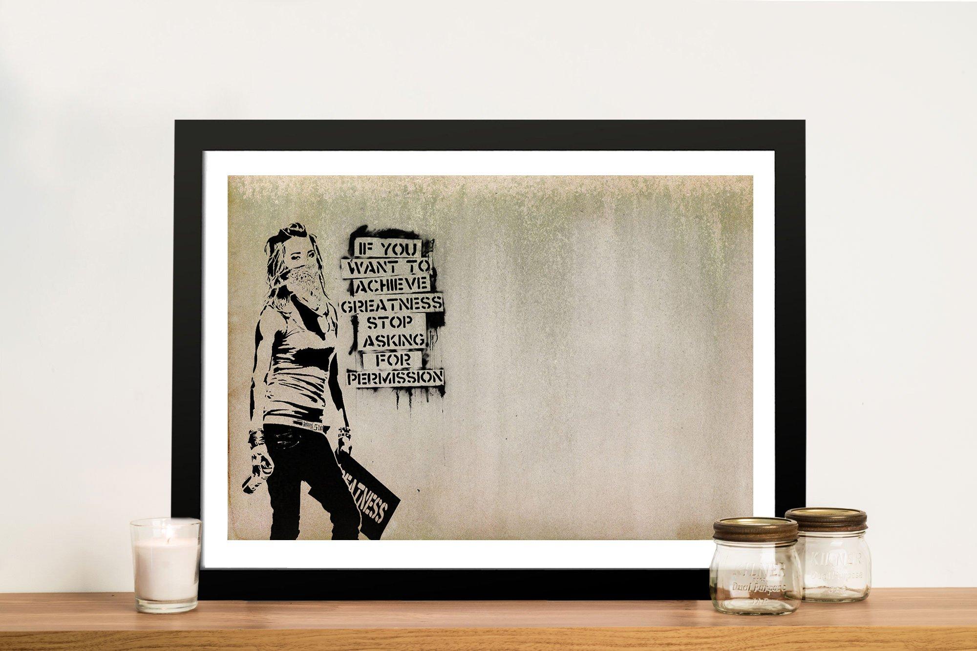 Graffiti Banksy Greatness Framed Wall Art