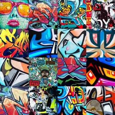 Graffiti Montage Punked Canvas Art Print
