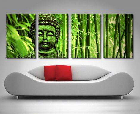 green buddha 4 panel canvas print