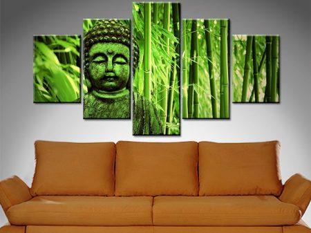 green buddha 5 panel canvas wall art
