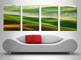 green rolling hills quad wall canvas print