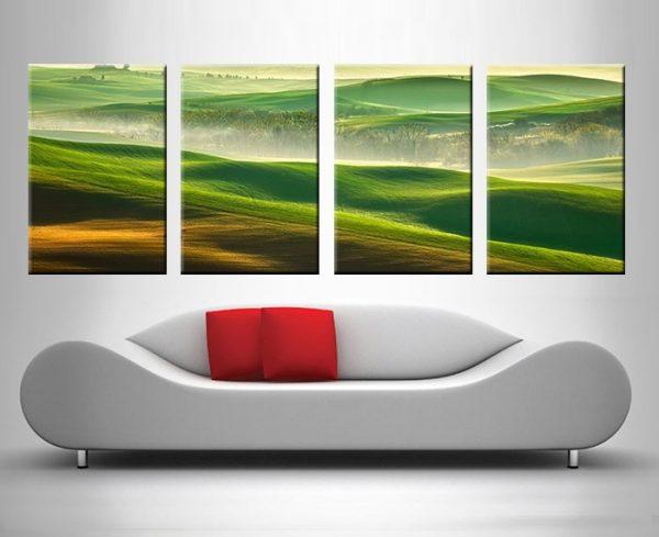green rolling hills quad wall canvas print