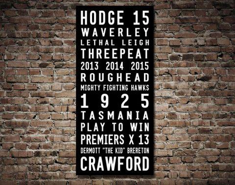 Hawthorn Hawks AFL FootyDestination Word Art