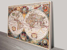 Henricus map art canvas