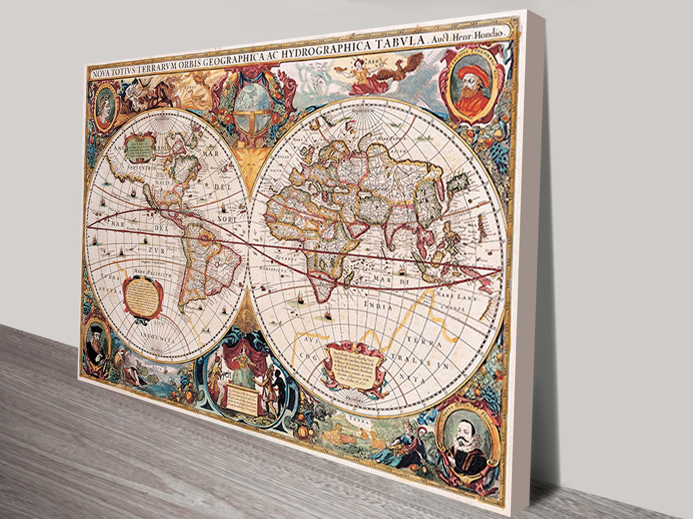 Henricus ancient world map canvas picture art blue horizon prints henricus map art canvas gumiabroncs Gallery