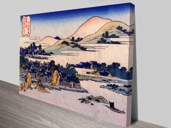 Hokusai Banana Plantation At Chuto Wall Custom Art Woodblock