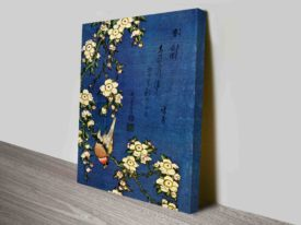 Hokusai Bullfinch and Drooping Cherry Traditional Japanese Wall Art