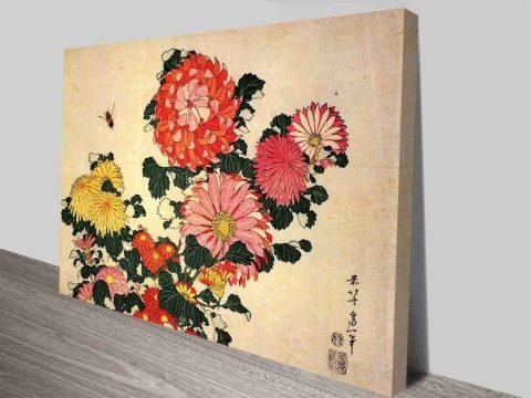 Hokusai - Chrysanthemum and Bee Traditional Japanese Art