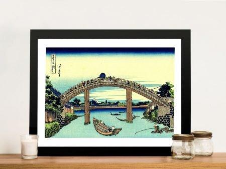 Hokusai fuji seen through the mannen bridge framed japanese wall art