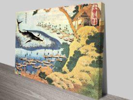 Katsushika Hokusai Ocean Landscape and Whale Canvas Print
