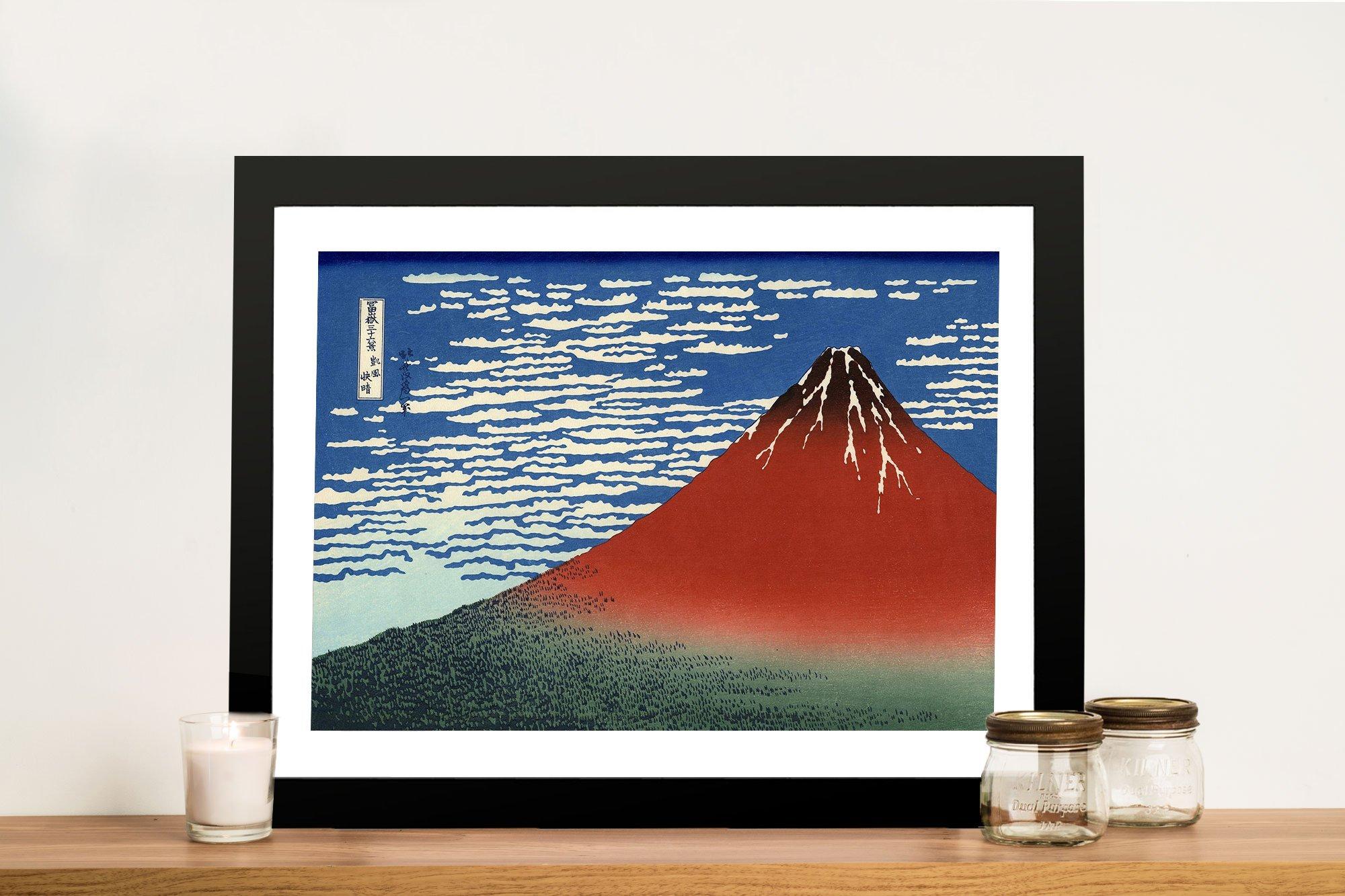 Hokusai Red Southern Wind on Fuji Framed Art