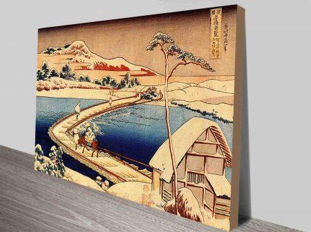 The Swimming Bridge of Sano Japanese Art Canvas Prints