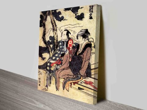 Traveling Couple Japanese Cultural Art