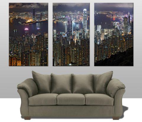 Hong Kong 3 Panel Canvas Art