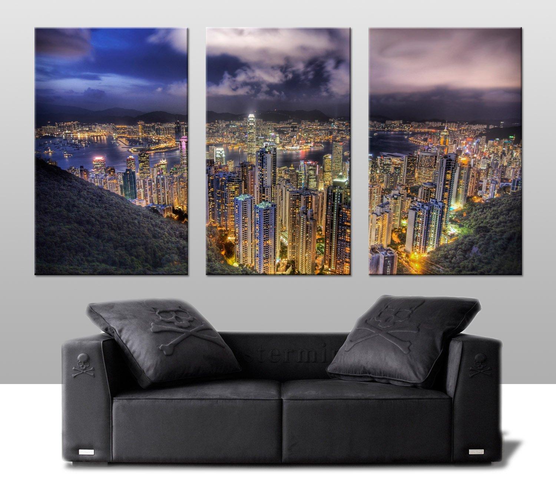 Hong Kong Art: Hong Kong Skyline 3 Panel Split Canvas