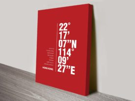 Hong Kong Red Coordinates Geographical Decorative Canvas Wall Art