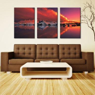 Ice & Fire Glacier Sunset 3 Panel Photo
